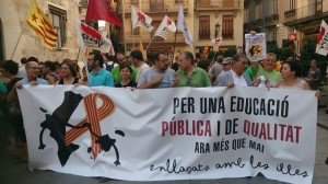 Acto de solidaridad del STEPV en Valencia con la huelga indefinida de Palma
