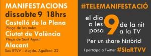 Manifestaciò en Alacant, Valencia y Castellò en favor del canal 9 alliberat