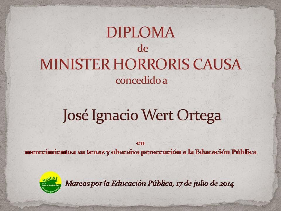 """Wert galardonado con el título """"Minister Horroris Causa"""" por la Marea Verde"""